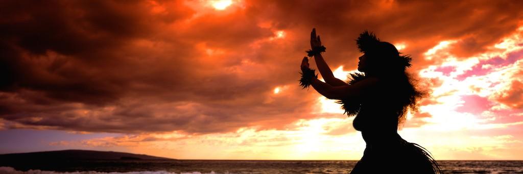Hawaii Hula Dancer in Sunset