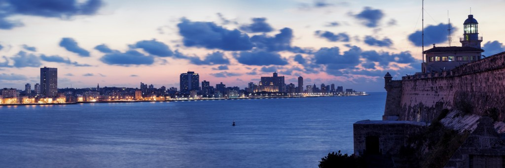 Panorama of Havana Harbour with Malecon at Dusk, Cuba