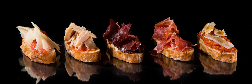 Variety of toasts. Spanish tapas