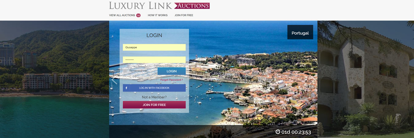 Auctions on Luxury Link